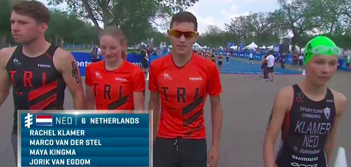 Nederland stelt teleur met achtste plaats bij Mixed Team Relay Edmonton