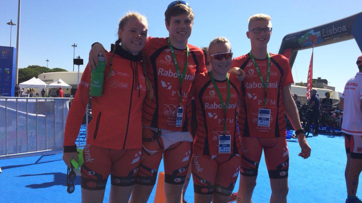 Junioren TVA Almere eindigen Mixed Team Relay voor clubteams als zevende van Europa