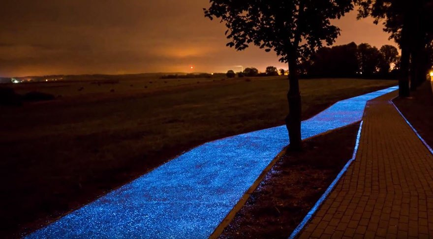 Polen heeft glow-in-the-dark fietspad