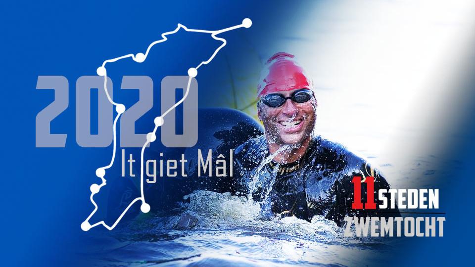 Triatleet Stefan van der Pal op weg naar zwemmen Elfstedentocht 2020