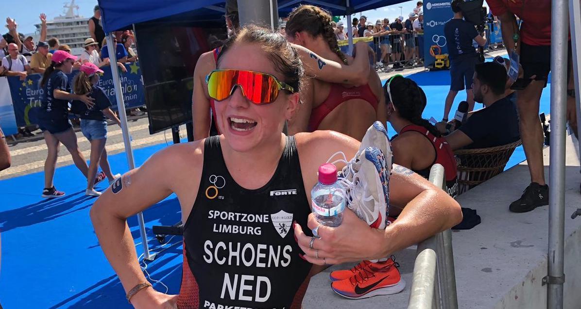 Quinty Schoens over vierde plaats ETU Cup Funchal en sterk zwemonderdeel: 'Dat geeft de burger altijd moed!'