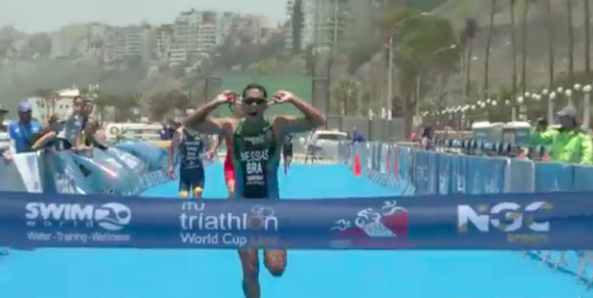 Nette prestatie Jorik van Egdom ITU World Cup Lima, Braziliaanse Manoel Messias winnaar