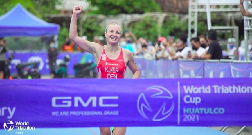 Deense Alberte Kjaer verrast met eerste zege World Triathlon Cup Huatulco, geen Nederlandse dames in actie